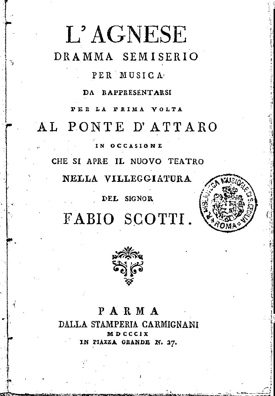The original libretto of 1809